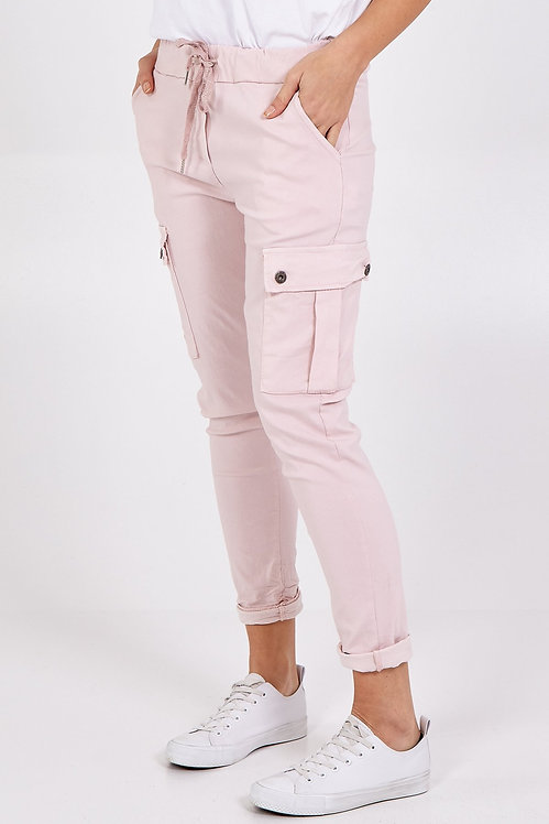 Super Stretch Combo Trousers in Blush Pink.