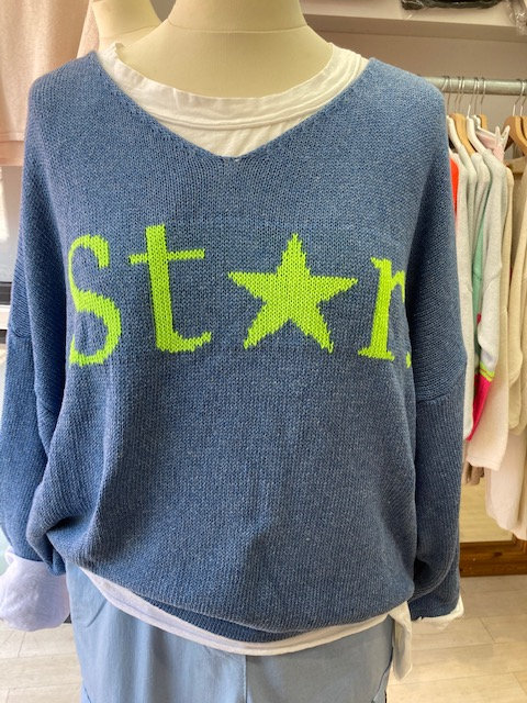 N and Willow Star Sweater in Denim Blue