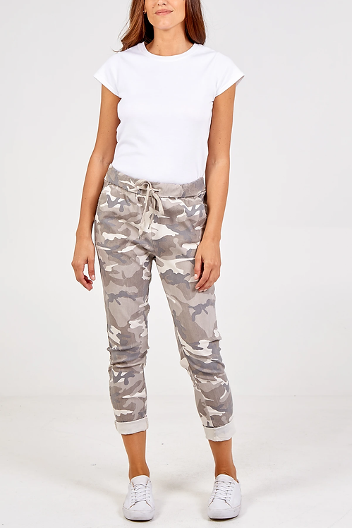 Magic Stretch Camouflage Joggers in Stone and Grey