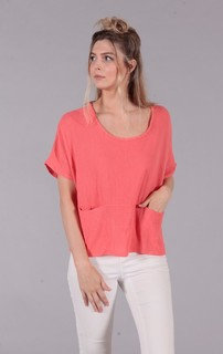 Two Pocket Top in Coral or Beige