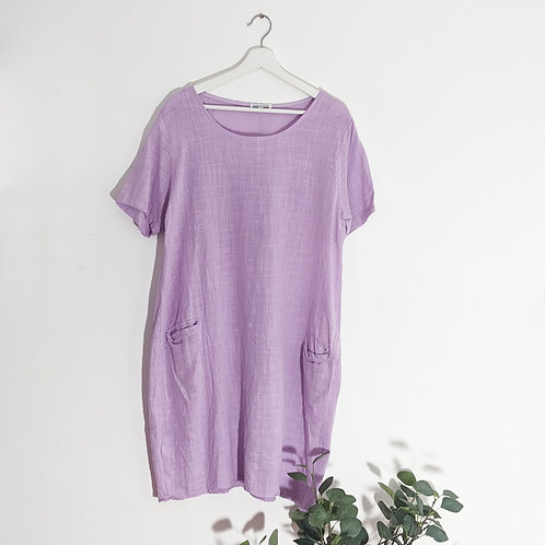 Classic linen dress with front pockets in Lilac