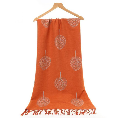 Tree of Life Wool Scarf in Orange and Sky Blue