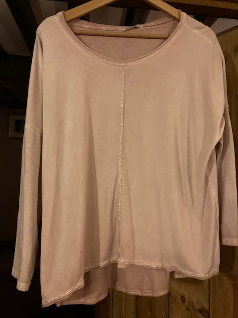 Deck Blush Pink Top with Glitter Front
