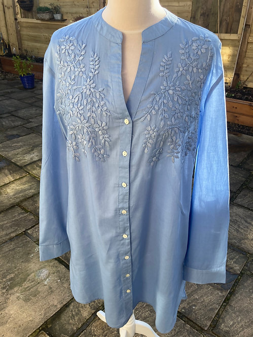 Pomodoro Embroidered Overshirt in Chambray Blue