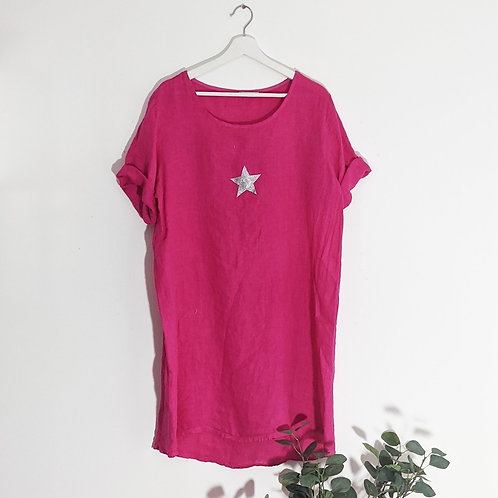 Casual linen dress with little silver star in Fuscia