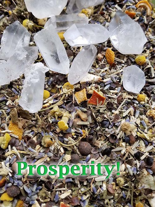 Prosperity Money Draw Herbal Blend and Crystal