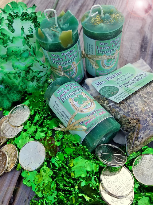 Lucky Clover Prosperity & Good Fortune Pillar Candle
