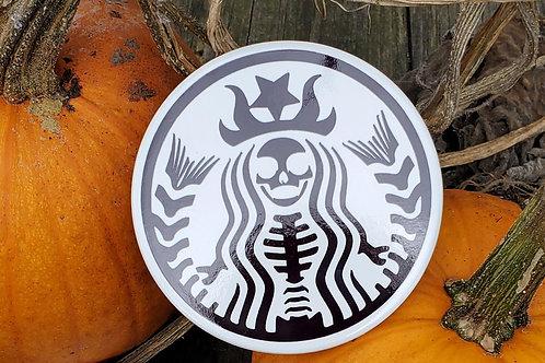 Witch Skeleton Ceramic Coaster