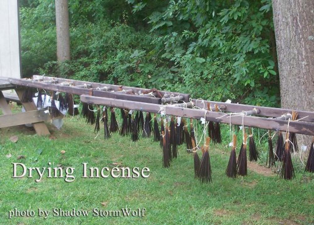 Drying hand dipped incense at 2013 Granny Camp.