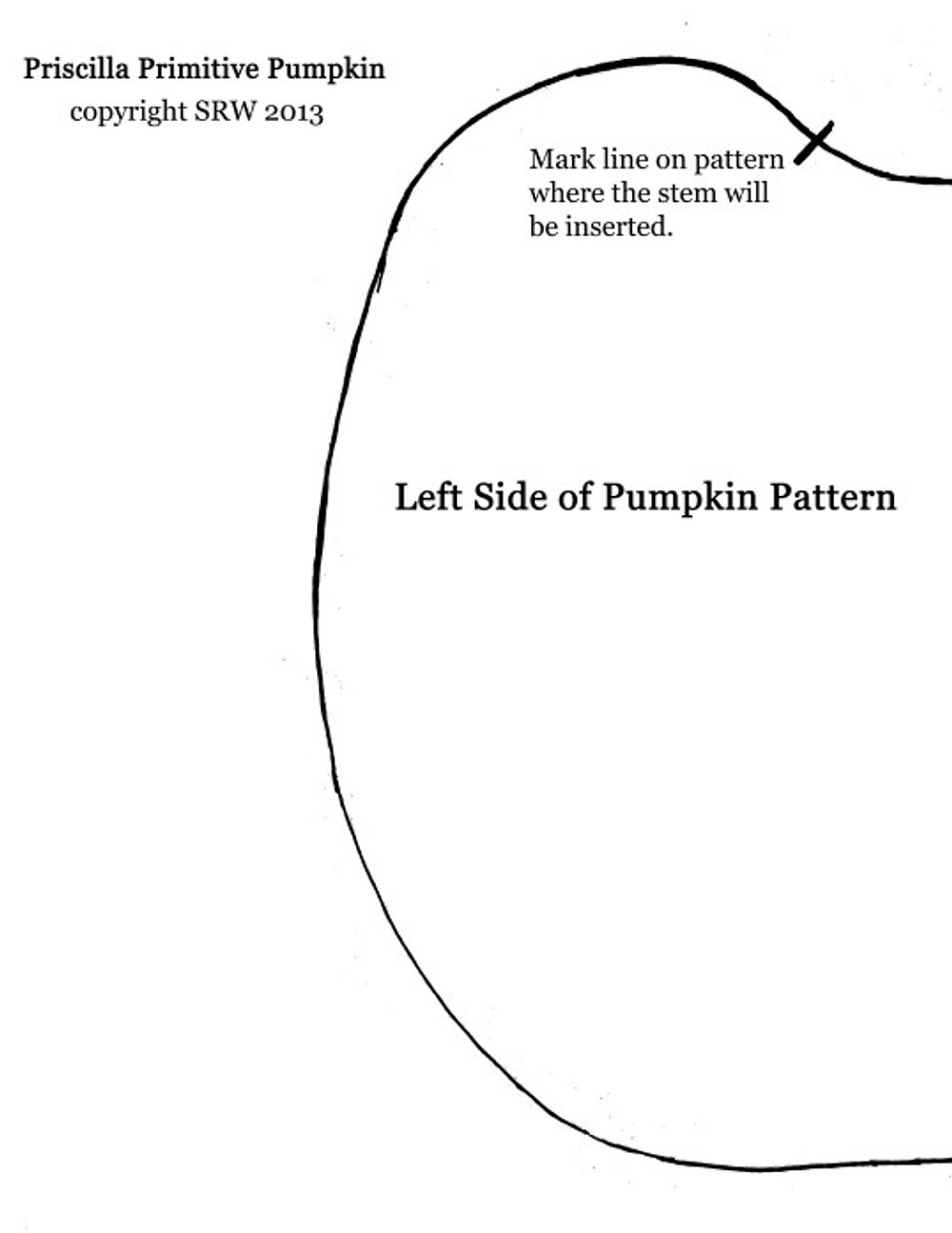 Left side of pumpkin pattern.