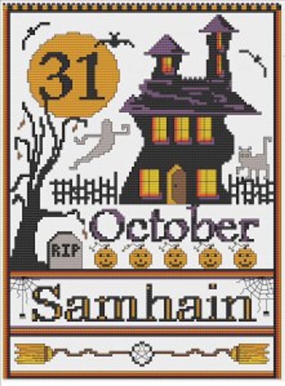 Samhain Cross Stitch available at http://www.crowcrossroads.com
