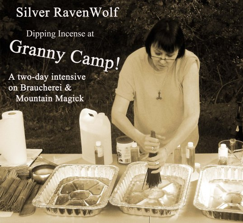 Silver RavenWolf making incense at Granny Camp 2013.