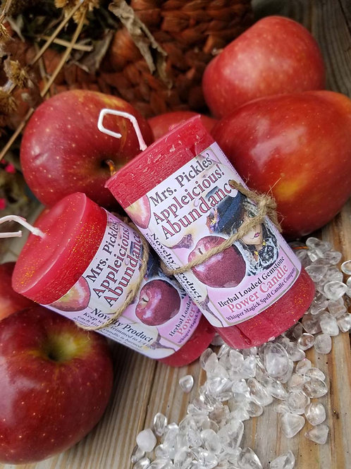 Appleicious Abundance Herbal Gemstone Pillar Candle