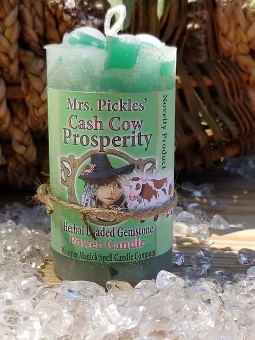 Cash Cow Prosperity Loaded Herbal Gemstone Pillar Candle