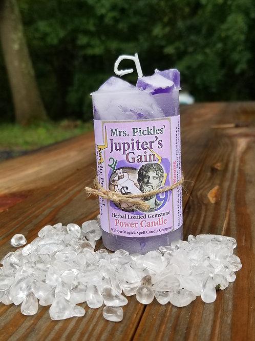 Jupiter's Gain Herbal Loaded Gemstone Pillar Candle