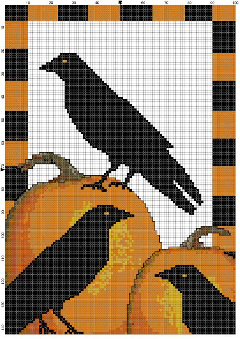 Crow crosstitch by Silver RavenWolf