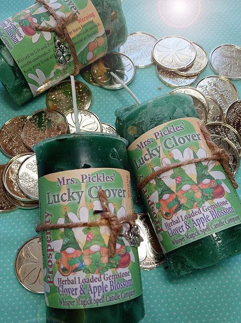 Lucky Clover Good Fortune Pillar Candle