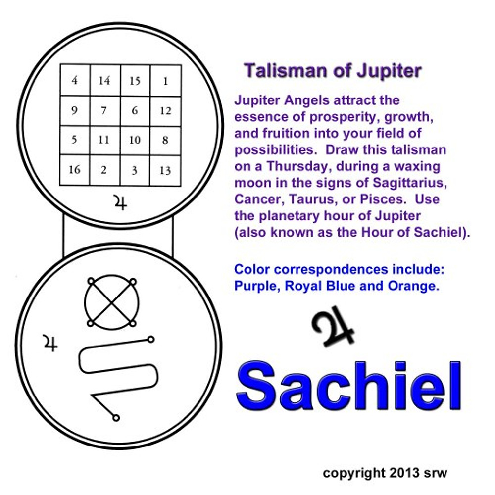 Draw this sigil on white paper with a purple pen.  Cut out your talisman.  On the back, write your desire along with your full name.  Empower the talisman today in the hour of Jupiter.  You can fold the talisman and glue around the edges like a pocket, leaving the top open.  Place Jupiter corresponding herbs or powders in the pocket opening.  Seal shut.  Dress with a Jupiter oil if you like.