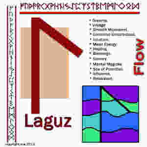 "Laguz is all about flow.  If I drew this rune today, I would connect with Spirit and touch the ""motion"" of flow."