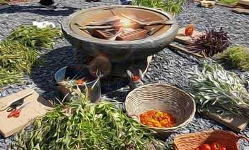 We placed bricks in the ritual fire-- as the flames rose we ladled herb water onto the bricks to create sacred steam