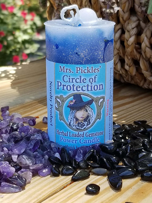 Circle of Protection Loaded Gemstone Pillar Candle