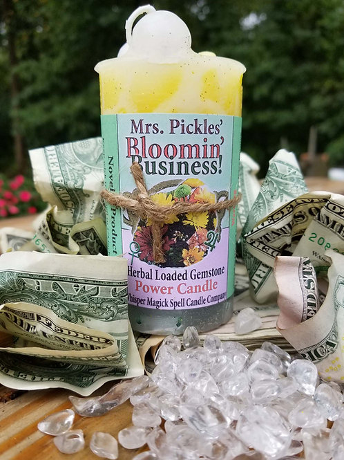 Bloomin' Business Loaded Herbal Gemstone Pillar Candle