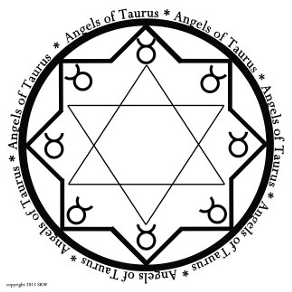 Sigil for working with the Angels of the Astrological Sign Taurus -- Use for long-term wealth, comfort, or bringing food into the home.