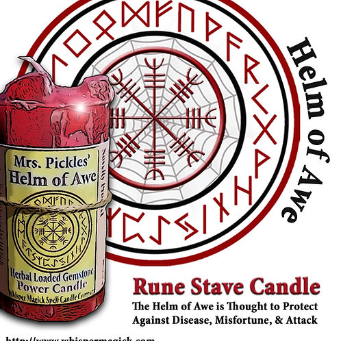 Helm of Awe Rune Stave Dragons Blood Ginger Candle