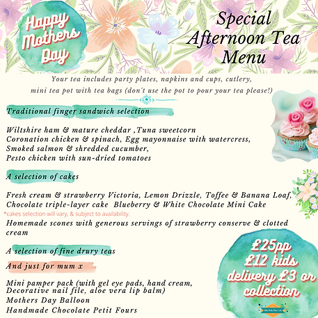 Mothers day afternoon tea for delivery or collection in Beckenham, west wickham, bromley, shirely,addiscombe. Mothers day gift beckenham,west wickham.