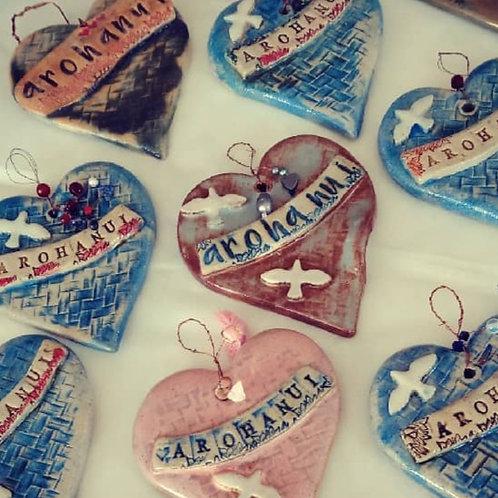 Hand made pottery hearts