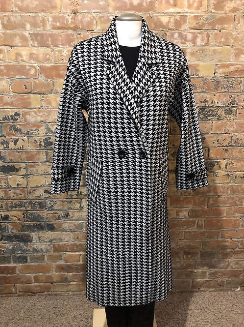Black Tape Black and White Houndstooth Sweater Coat