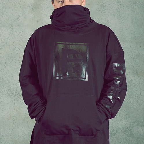 Neck Wrapped Drop Shoulder Hoodie in BLK