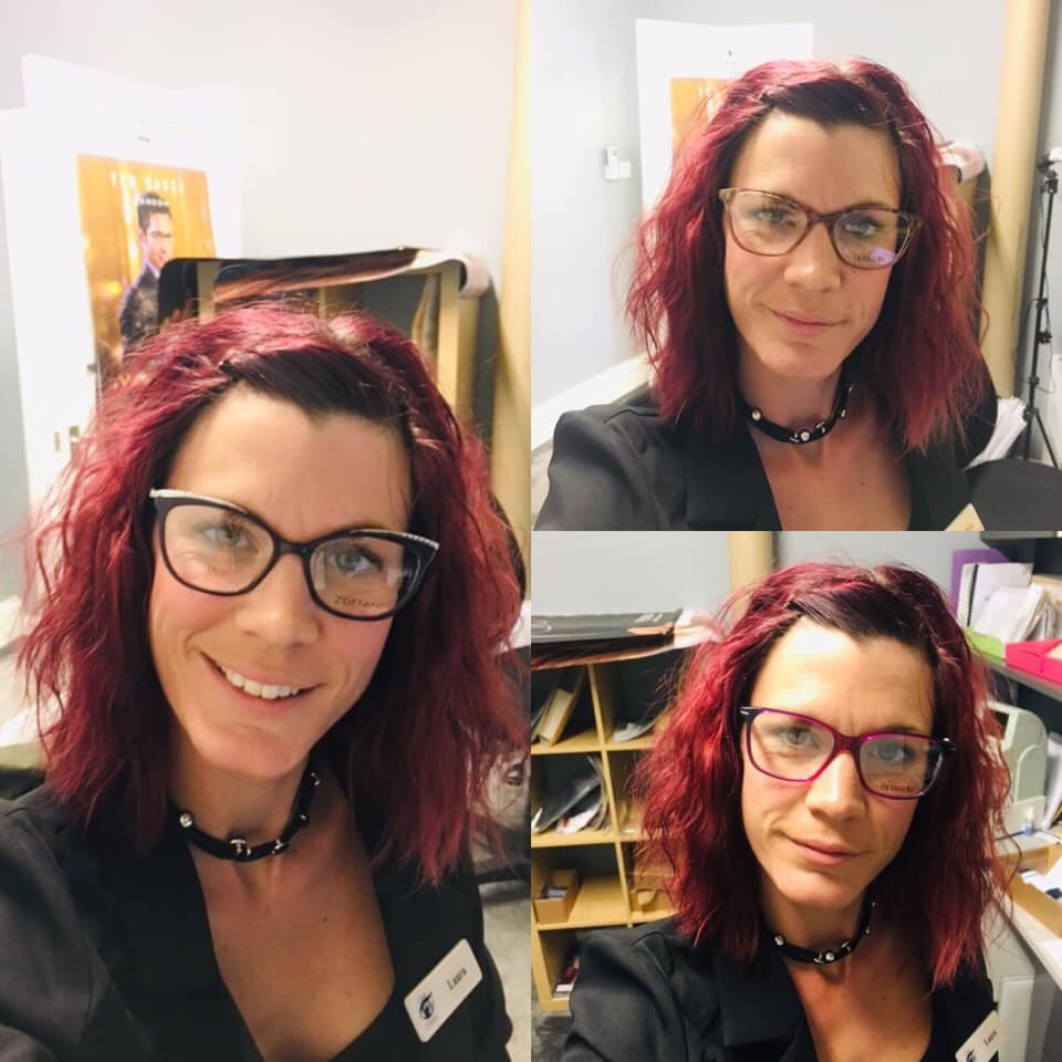Laura, Red shoulder length curly hair modeling three different styles of spectacles