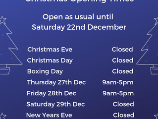 Christmas Opening Times 2018