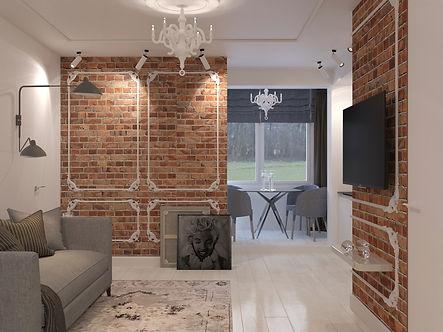 Дизайн интерьера, соверменная классика, кирпич в интерьере.