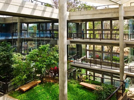 Тропический сад в бетонном офисном здании от CORE