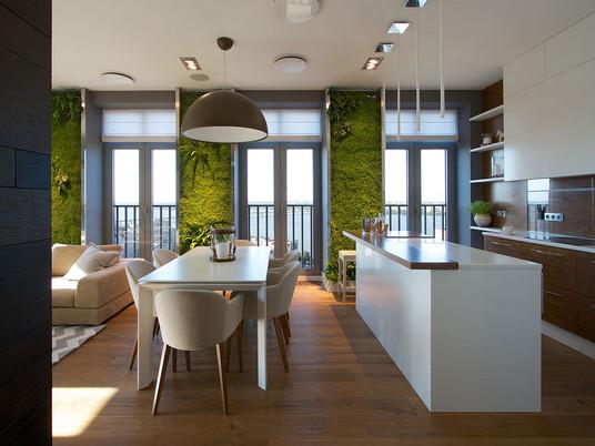 Современный дизайн квартиры: зеленые стены