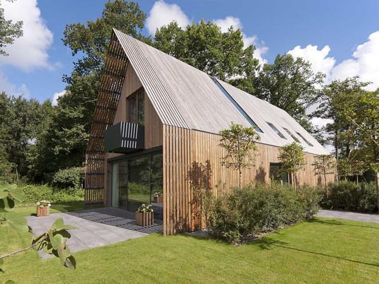 Современный дом и безмятежное, фантастическое лесное окружение