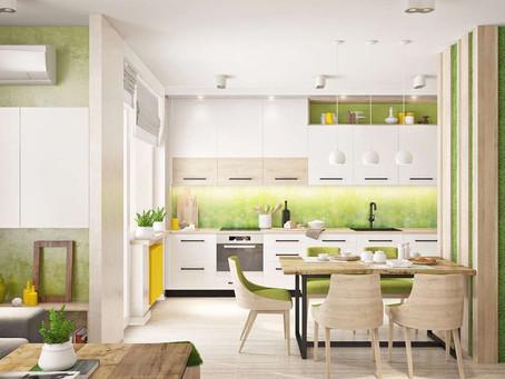 Освежаем интерьер: кухни в зеленом цвете