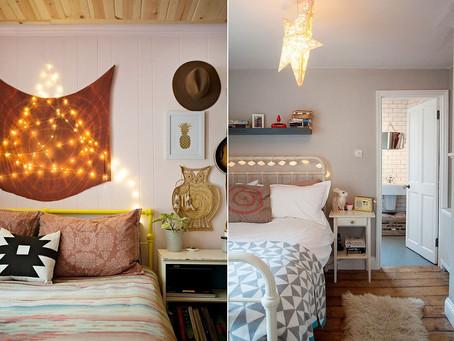 К праздникам: потрясающие эклектичные спальни с гирляндами