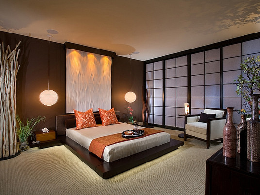 Изысканная спальня в азиатском стиле
