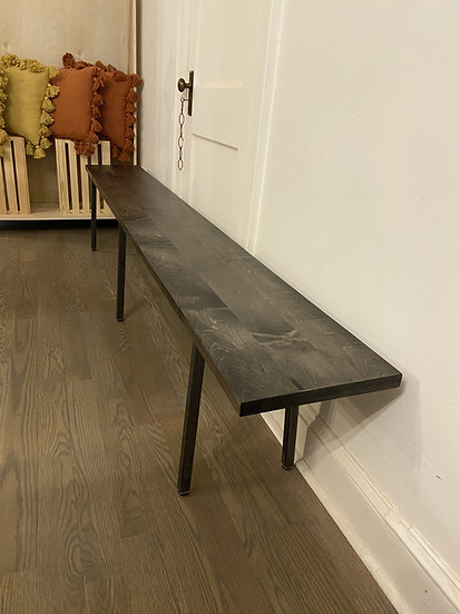 Silver Maple Bench w/ Blackened Steel Legs