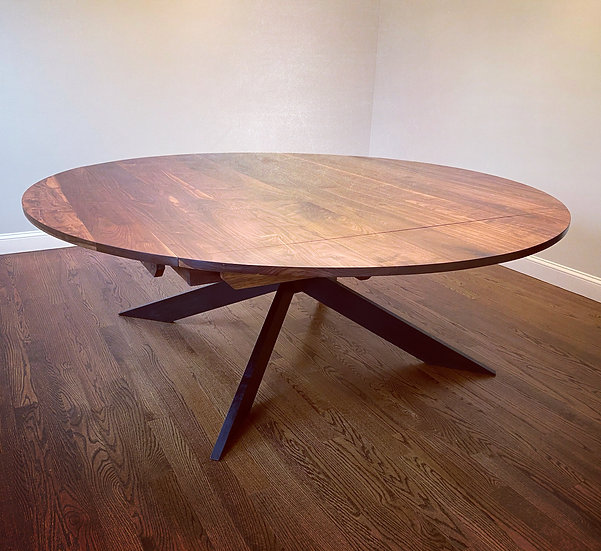 Walnut - square to round dining table