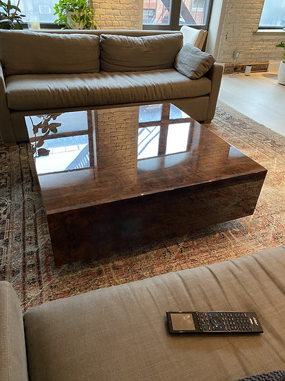 High polish walnut burl coffee table