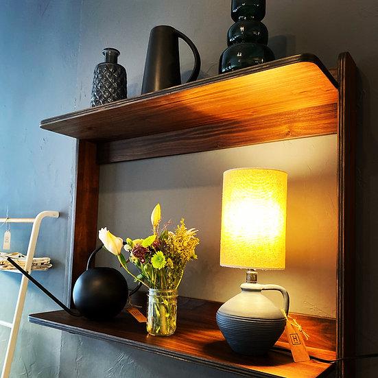 Walnut shelf w/ lamp