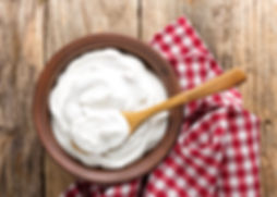 Homemade yogurt or sour cream in a rusti