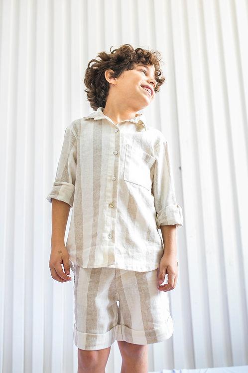 Camisa Listrada em Linho Marcus