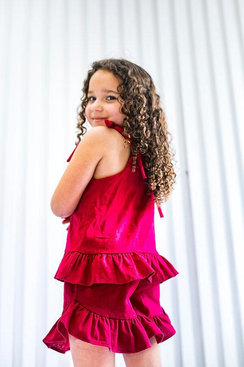 Conjunto Short e Blusa Vermelho-Cereja Infantil Feminino com Babados