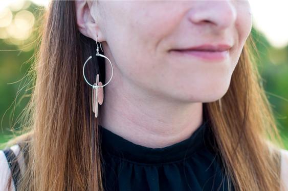 boucles d'oreilles asymétriques argent