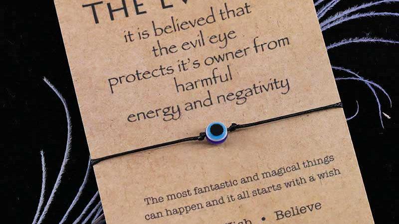 Dark Blue Evil Eye Wish Bracelet Evil Eye Bead Palm Charm